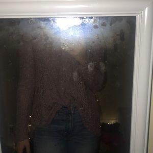 Purple open back sweater